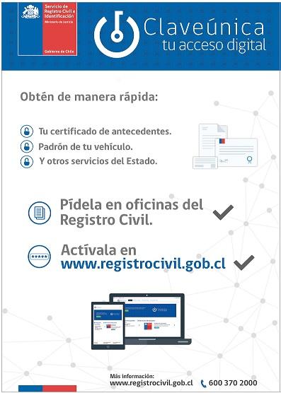 Registro Civil invita a solicitar y activar la Clave Única para realizar trámites en linea